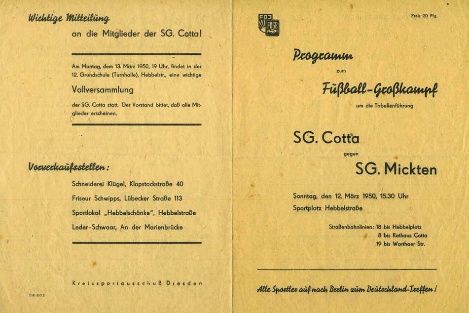 Noch in den 40er Jahren nahmen viele Mannschaften den Spielbetrieb wieder auf, der spätere Dynamo-Held kickte bei der SG Cotta im Nachwuchs.