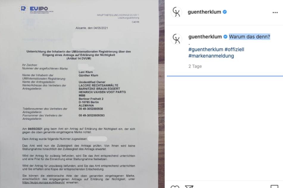 """""""Warum das denn?"""": So lautete die Reaktion von Günther Klum auf den Nichtigkeitsantrag von Tochter Heidi."""