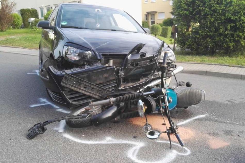 Auf der Merbitzer Straße kam es am Dienstagmorgen zu einem Unfall.