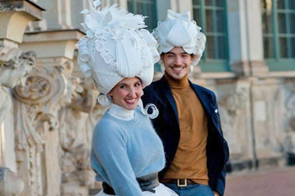 Wie vor 300 Jahren: Das Hochzeitspaar im Dresdner Zwinger.