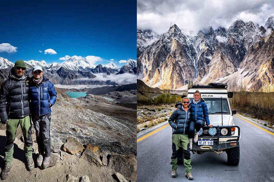 Im Himalaja (links) und in Pakistan ließen sich die beiden noch fotografieren.