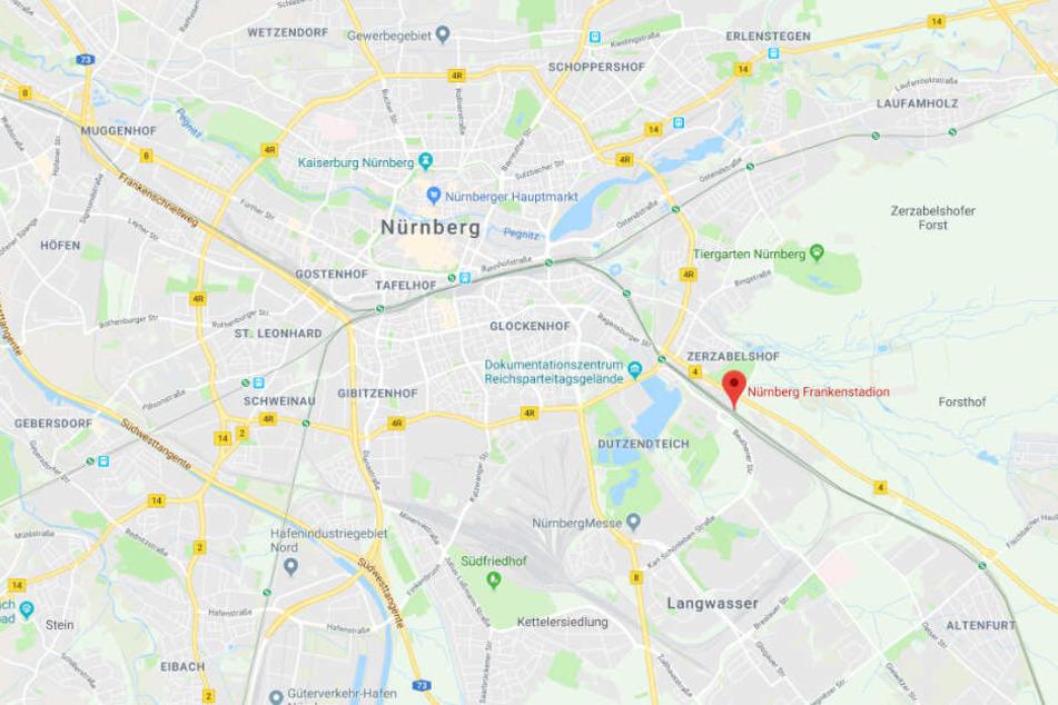 Der S-Bahnhof Frankenstadion, an dem sich die Tragödie ereignete, liegt im Südosten Nürnbergs.