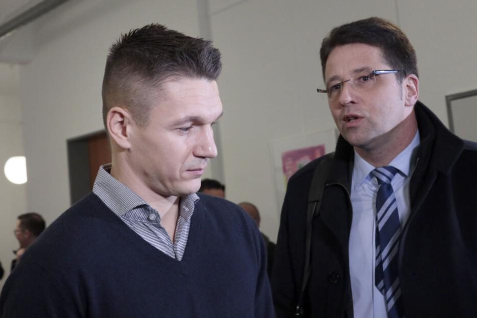 Daniel Frahn mit seinem Anwalt Christian Schößling.