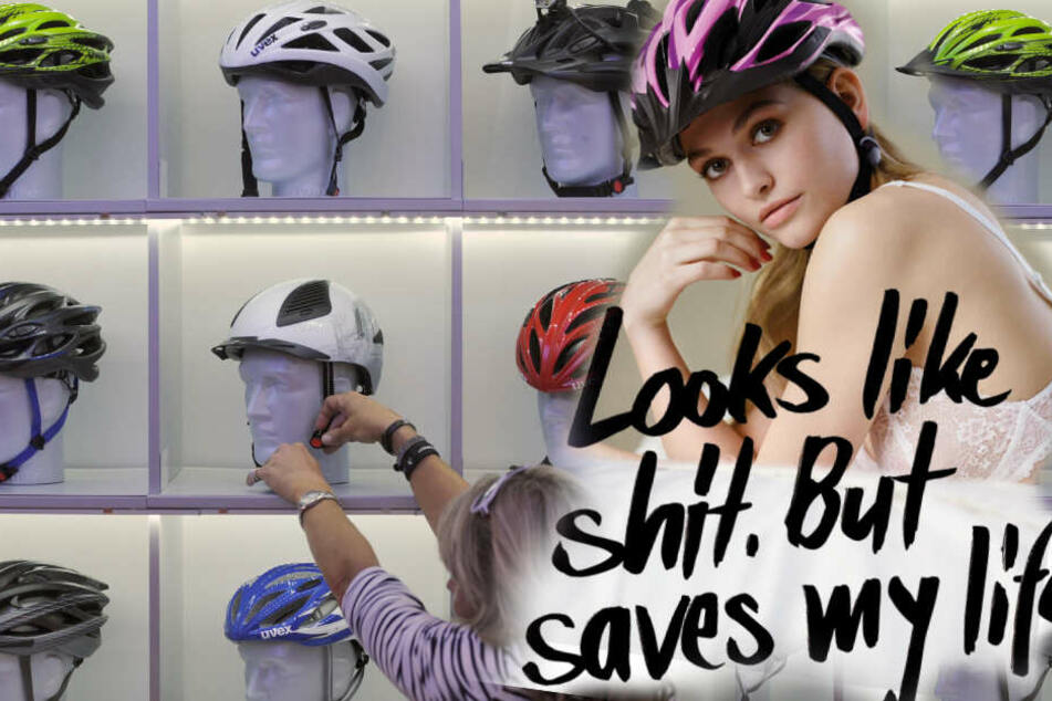 Der Helmhersteller Uvex (Hintergrund) versteht die Kampagne der Bundesverkehrsministeriums (Vordergrund) nicht. (Bildmontage)