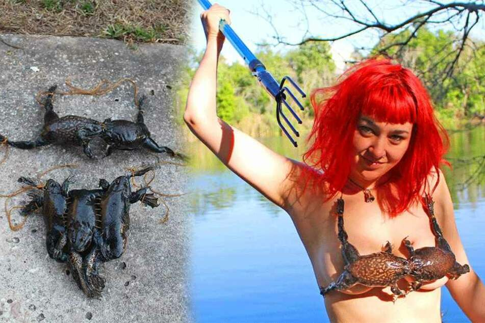 Einen Bikini aus echten toten Fröschen, bastelte sich Fabiana LeFleur (28).