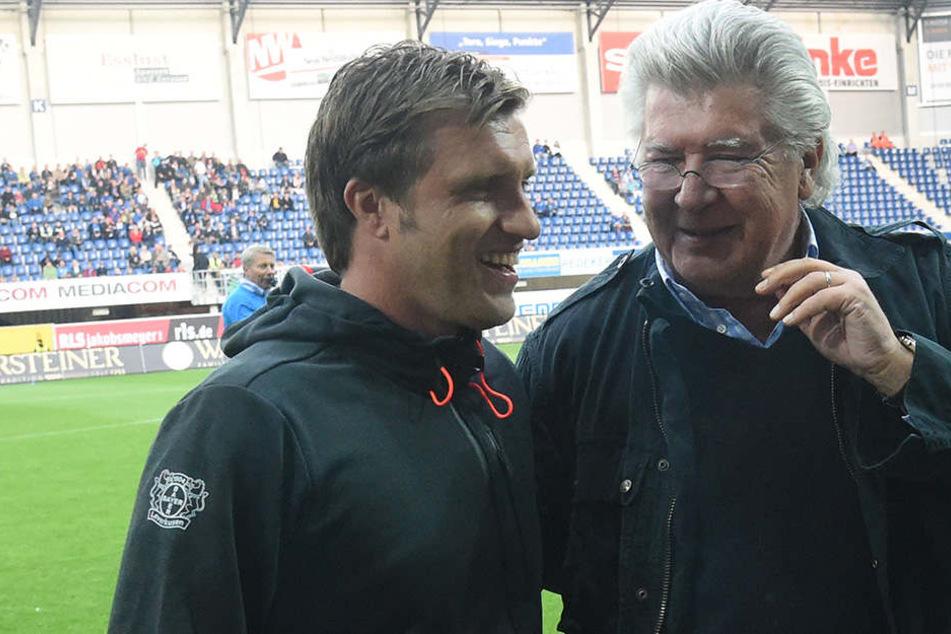 Der ehemalige SCP-Präsident stand immer hinter dem Verein. Hier mit Geschäftsführer Markus Krösche in der Benteler Arena.