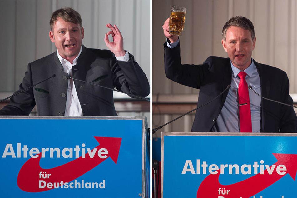 Die beiden AfD-Politiker André Poggenburg (43, l.) und Björn Höcke (46, r.) laden am 23. Juni auf Schloss Burgscheidungen nach Sachsen-Anhalt.