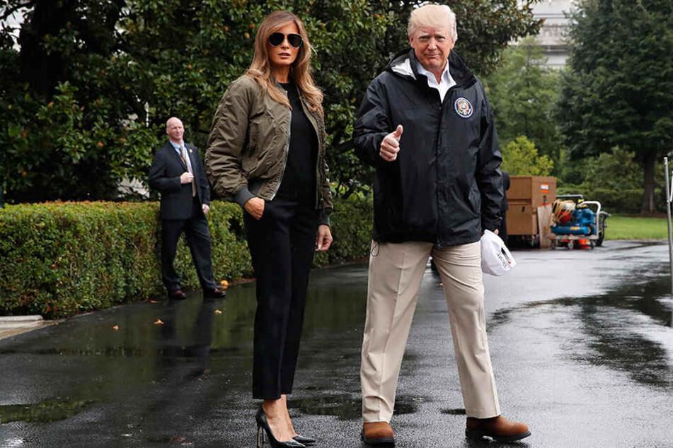 Wegen ihres Schuhwerks kassiert Melania Trump (47, links) einen Shitstorm. Ihr Gatte Donald (71, rechts) hat diesmal nichts falsch gemacht.