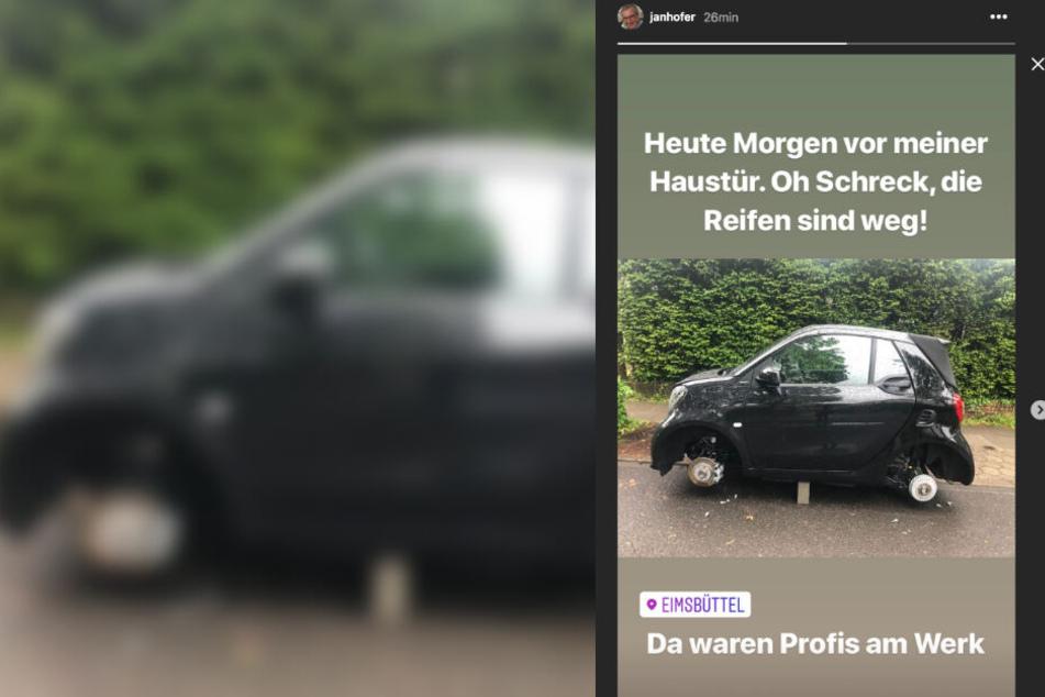 Ein Foto des aufgebockten Autos hat Jan Hofer auf Instagram gezeigt.