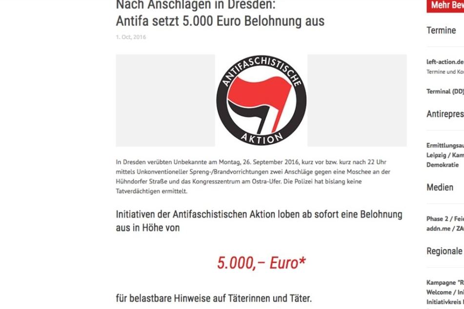 Die Antifa setzt eine Belohnung von 5000 Euro auf die Täter aus.