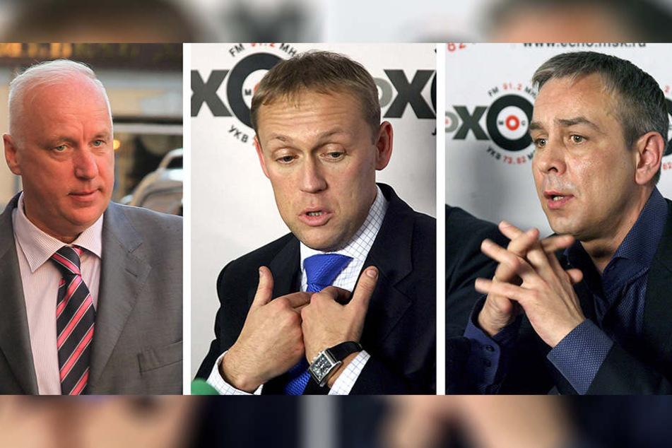 Russlands Chef-Ermittler Alexander Bastrykin (li.) und die ehemaligen Geheimdienstmitarbeiter Andrej Lugowoj und Dmitri Kowtun (v.li.).