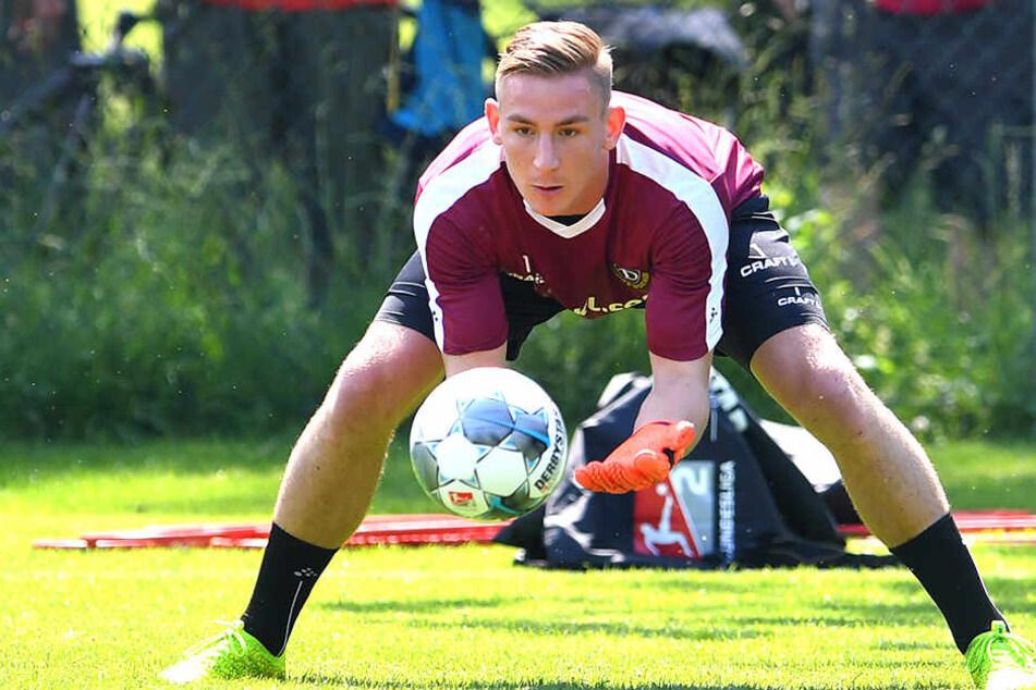 Kevin Broll kam von der SG Sonnenhof Großaspach zu Dynamo. Hier will er sich als Nummer 1 etablieren.