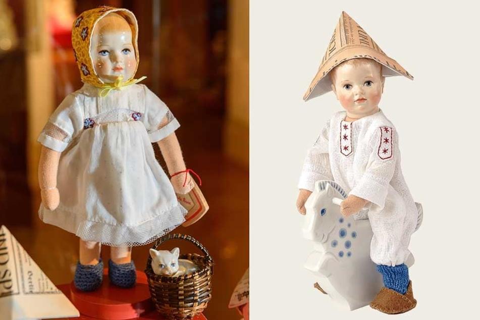 Bei der Käthe-Kruse-Puppe Fritz sind Kopf und Schaukelpferd aus Meissner Porzellan.