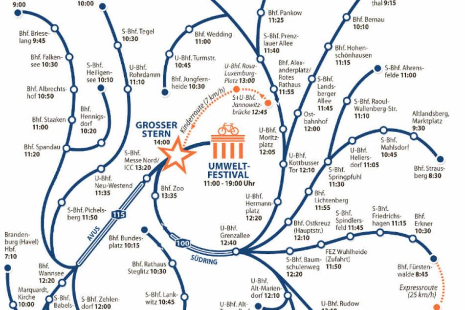 Die diesjährige Route der Sternfahrt. Ingesamt umfasst das Routennetz 1000 Kilometer und endet am Großen Stern.