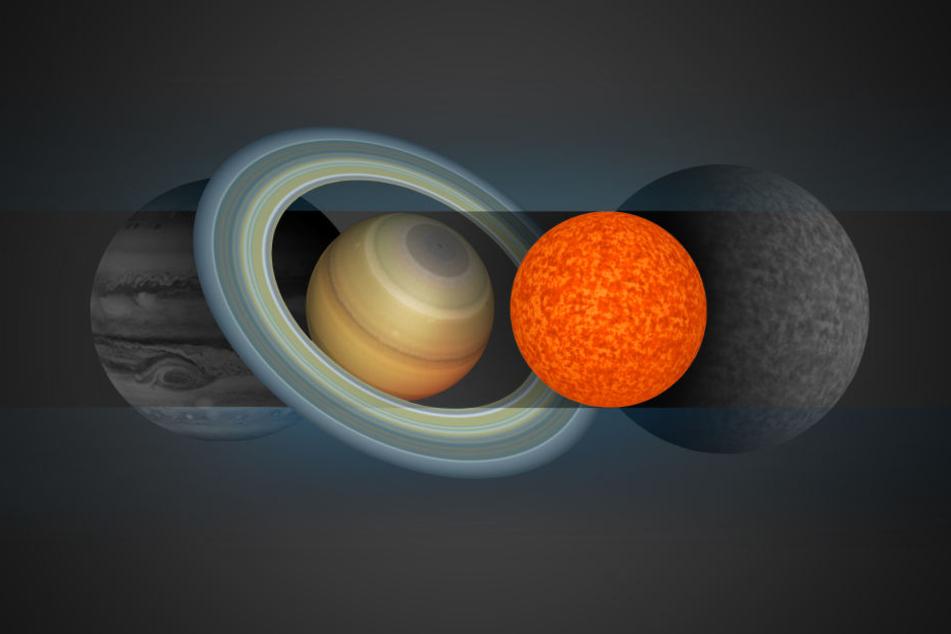 """Die grafische Darstellung zeigt im Größenvergleich die Planeten Jupiter (l-r) und Saturn sowie den kleinsten je entdeckten Stern """"EBLM J0555-57Ab""""."""