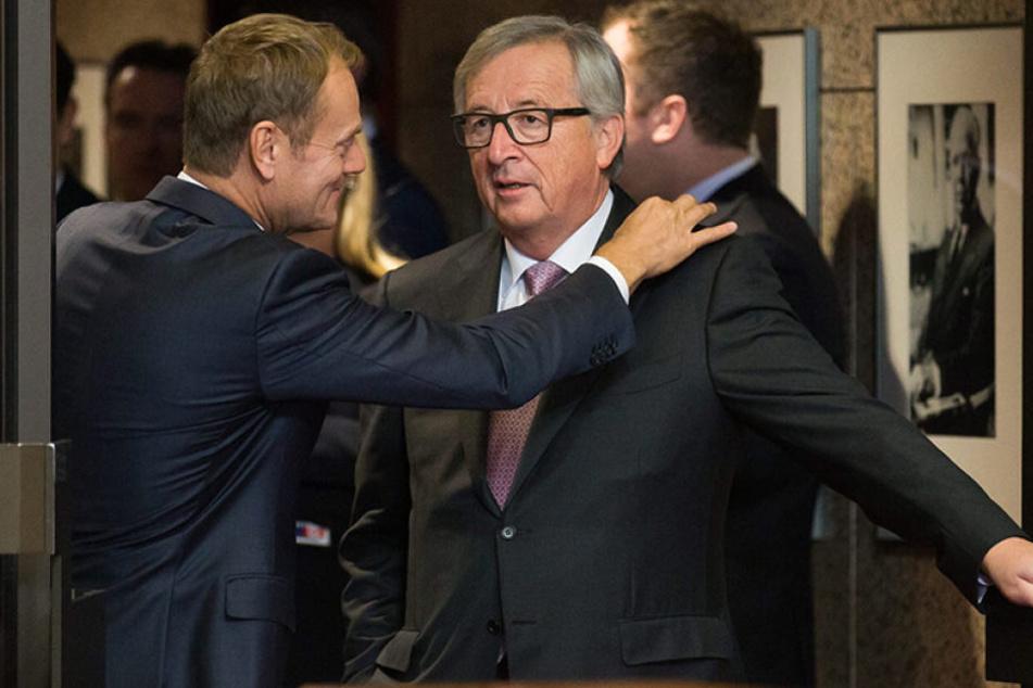 Präsident des Europäischen RatesDonald Tusk (59, l.) mit Jean-Claude Juncker (61).