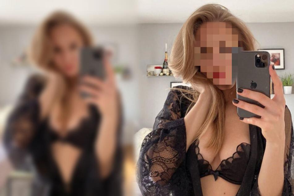 Welche Blondine posiert hier denn so sexy vorm Spiegel?