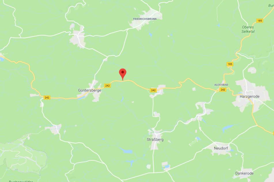 Der Unfall ereignete sich auf der B242 zwischen Siptenfelde und Güntersberge im Harz.