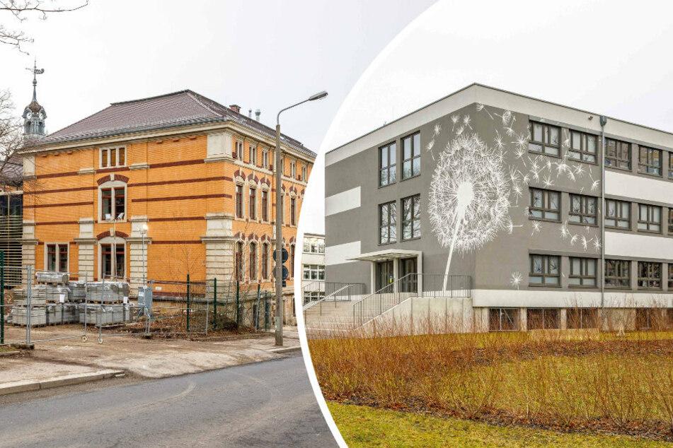 Das Schulgebäude an der Kantstraße (links) ist zwar noch nicht ganz fertig, das Gymnasium Plauen soll aber trotzdem zurückkommen. Derzeit ist es noch am Terrassenufer (rechts) einquartiert. Dorthin soll dann das Gymnasium Cotta folgen.