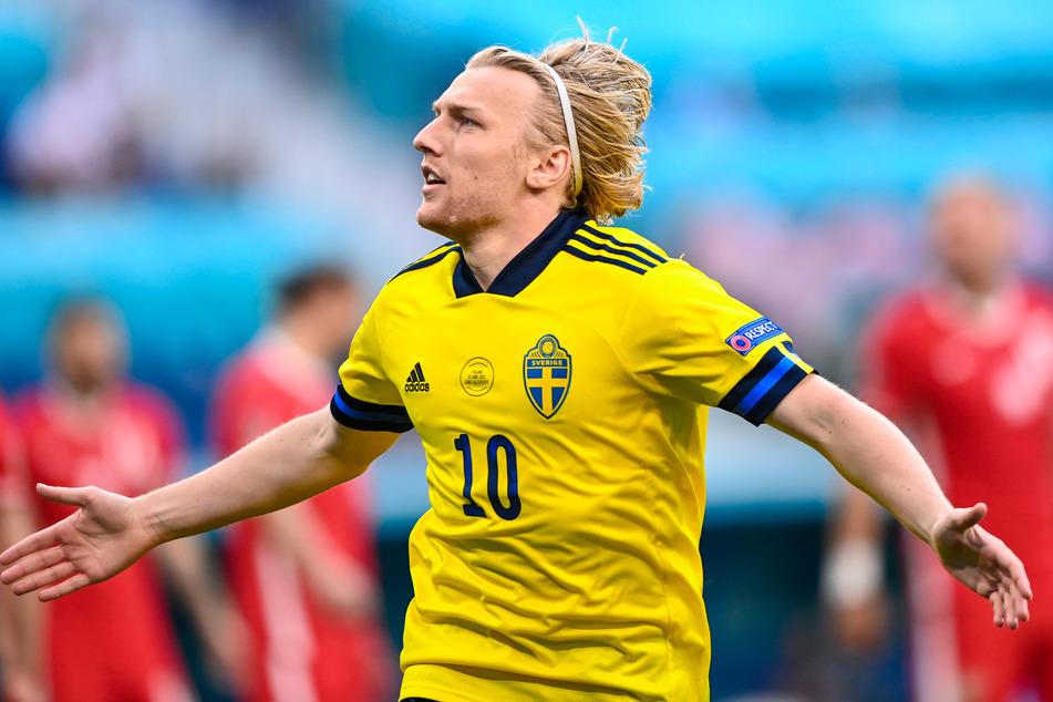 RB Leipzigs Emil Forsberg erzielte für Schweden nach 83 Sekunden das zweitschnellste Tor bei einer EM-Endrunde, knackte diesen Rekord seines RB-Kollegen Yussuf Poulsen (Dänemark) nach nur sechs Tagen.