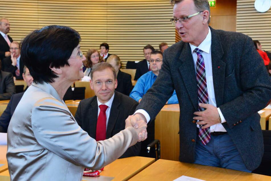 Bodo Ramelow und Christine Lieberknecht im Landtag 2014.