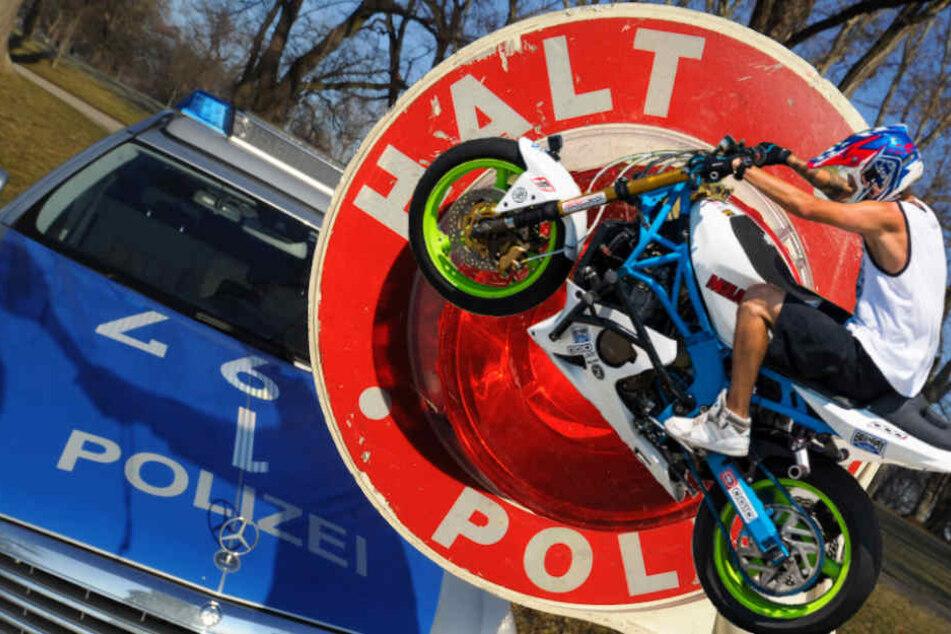 Teils nur auf dem Hinterrad flüchtete der Biker vor der Polizei. (Symbolbild)