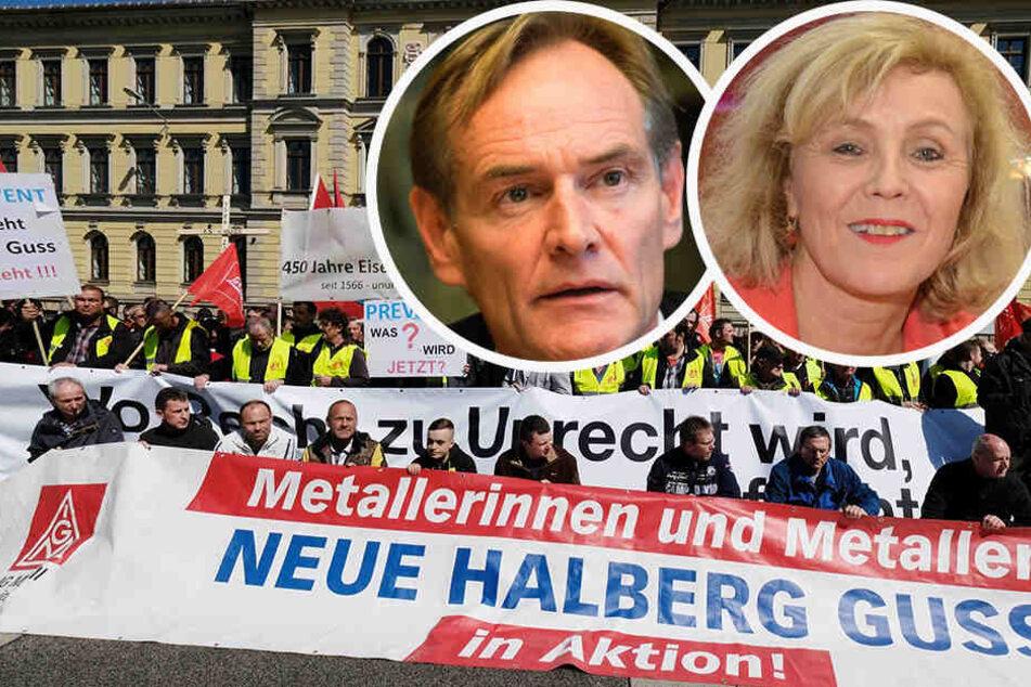 Beschäftigte von Prevent-Töchtern demonstrierten Ende April vor dem Kartellgericht. Der Zoff mit VW schwelt weiter. Oben die Oberbürgermeister Burkhard Jung (Leipzig) und Charlotte Britz (Saarbrücken).