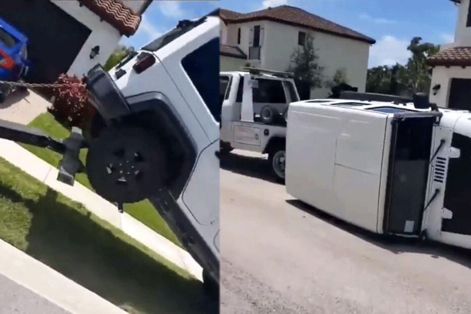 Das Abschleppen misslang, der Hummer kippte auf die Seite.