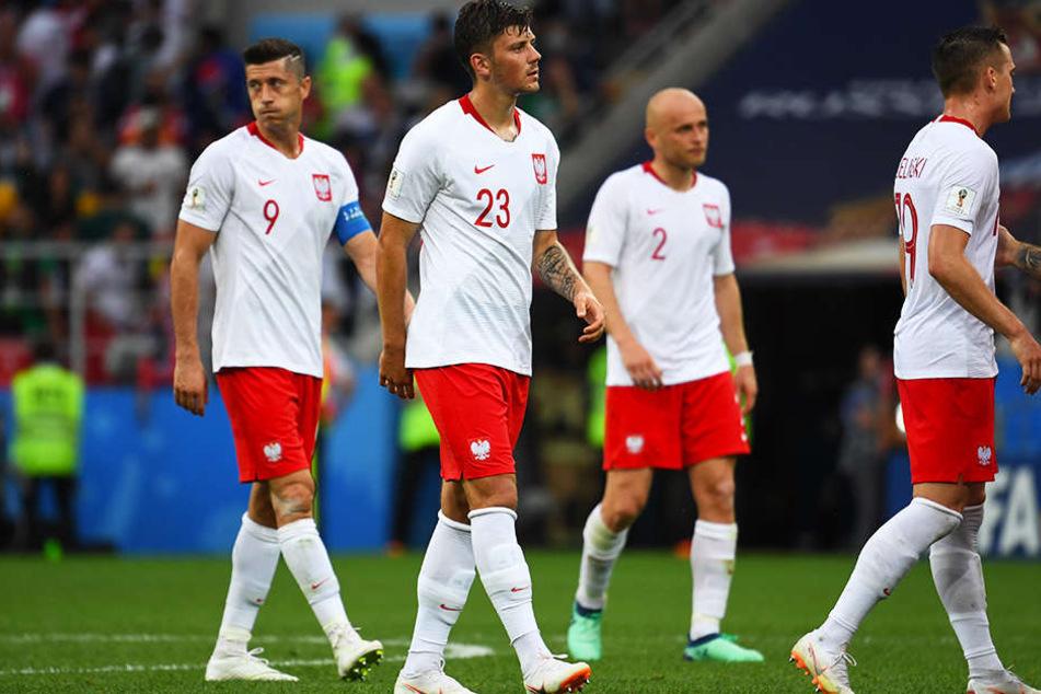 Betretene Mienen bei allen polnischen Spielern nach dem enttäuschenden Auftritt gegen den Senegal (1:2).