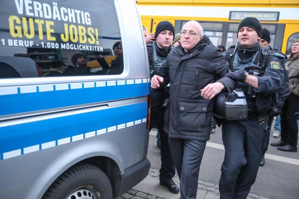 Neonazi Gerhard Ittner (60) wurde im Februar in Dresden bereits kurzzeitig in Gewahrsam genommen.