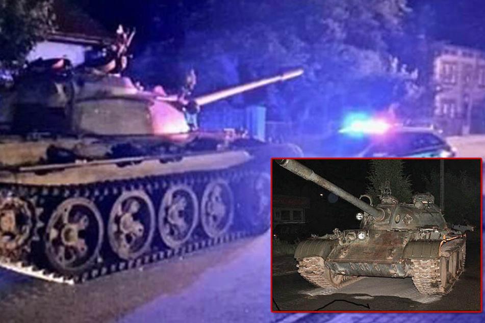 Anwohner in Angst! Panzer rollt mitten in der Nacht durchs Dorf