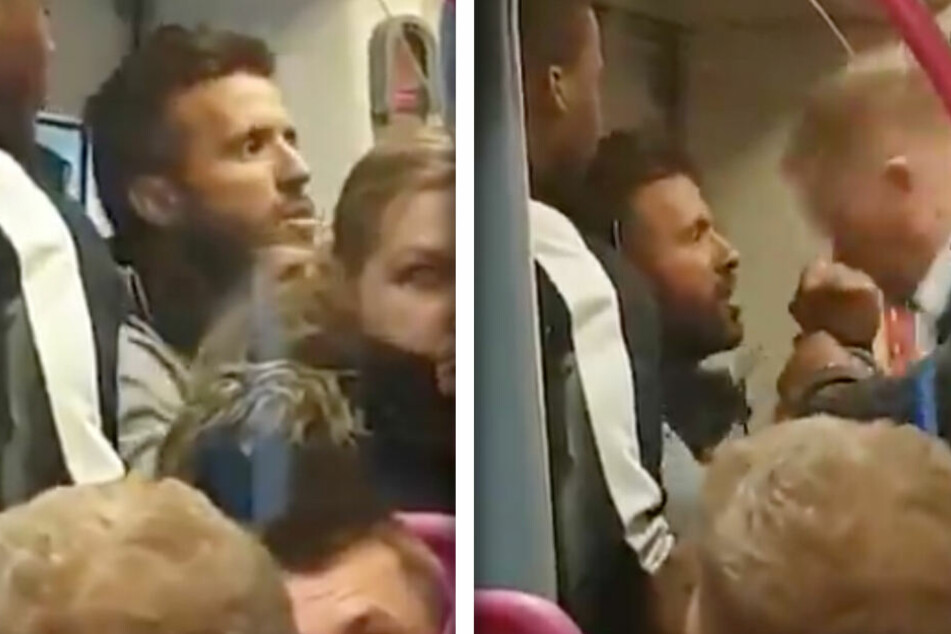 Streit in Bahn eskaliert, dann schreitet ein Anzug-Riese zur Tat!