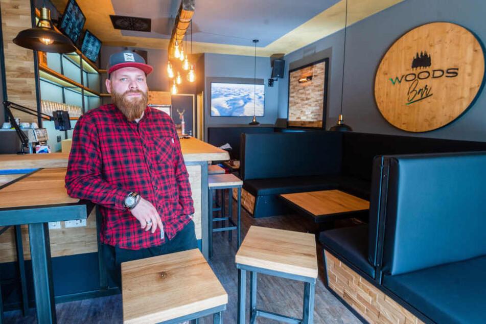 """Chris Glaubitz (33) will in seiner """"Woods""""-Bar für Wohlfühlatmosphäre sorgen."""
