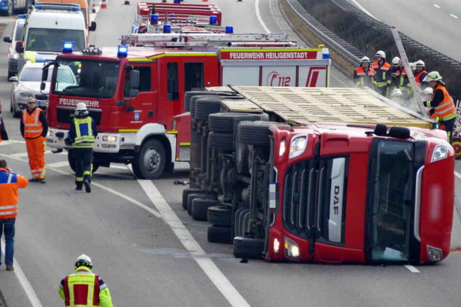 Thüringen: Viehtransporter auf A38 umgekippt - 600 Ferkel sterben