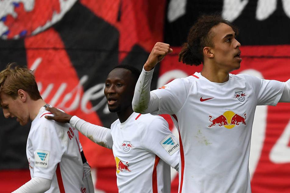 Emil Forsberg, Naby Keita und Yussuf Poulsen (v.l.) befinden sich in einer bestechenden Form. Führen sie RB Leipzig in die Champions League?