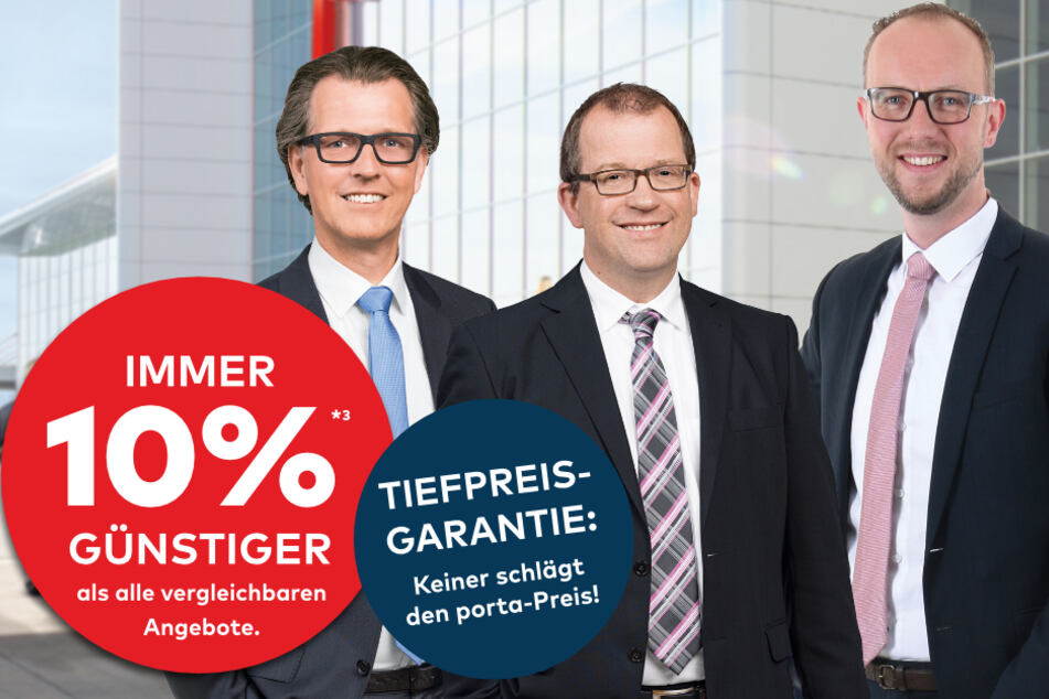 Die porta Geschäftsleiter freuen sich auf Euch! D. Horn (Barkhausen, v.l.n.r.), M. Hillebrenner (Bielefeld), C. Schütte (Gütersloh).