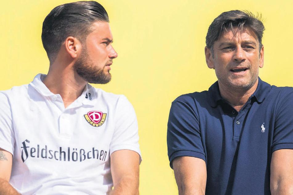 Sohn Niklas Kreuzer (l.) will am Sonntag mit Dynamo auch für Vater Oliver gewinnen.