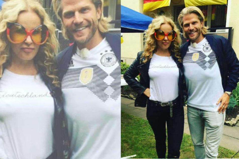 Katja Burkard und Paul Janke beim gemeinsamen WM-Schauen mit Freunden in Leverkusen.