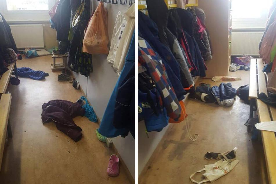 Nach Ordnung und Sauberkeit ist in der Garderobe der 2. Klasse nichts zu sehen.