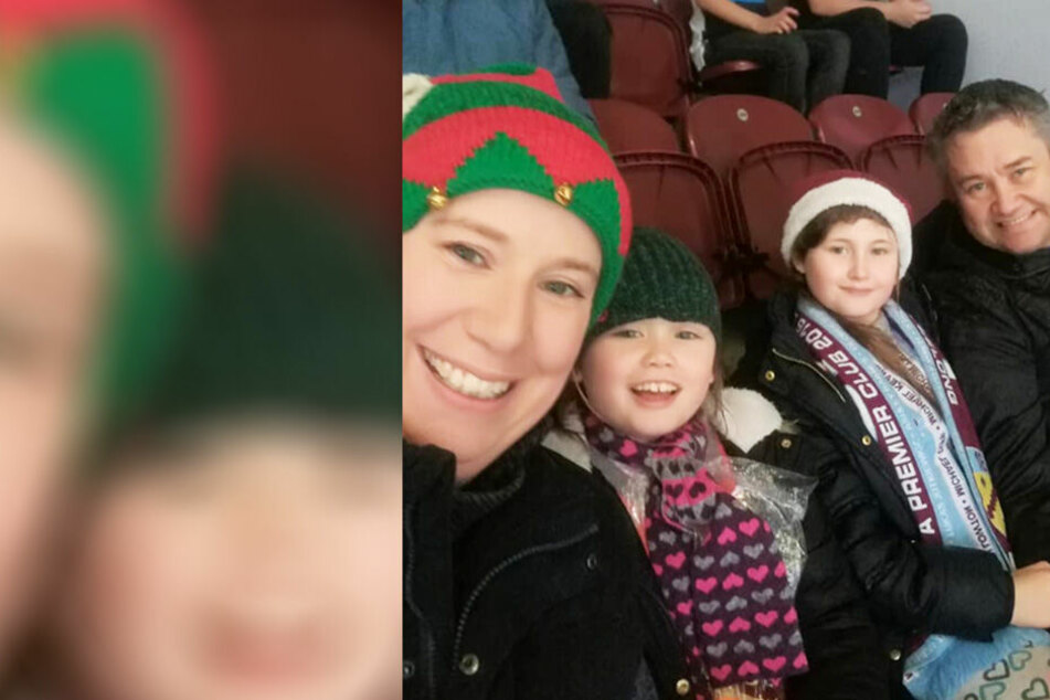 Emma mit ihren beiden Kindern und ihrem Mann.