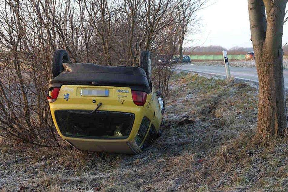 Der Renault landete im Straßengraben auf dem Dach.