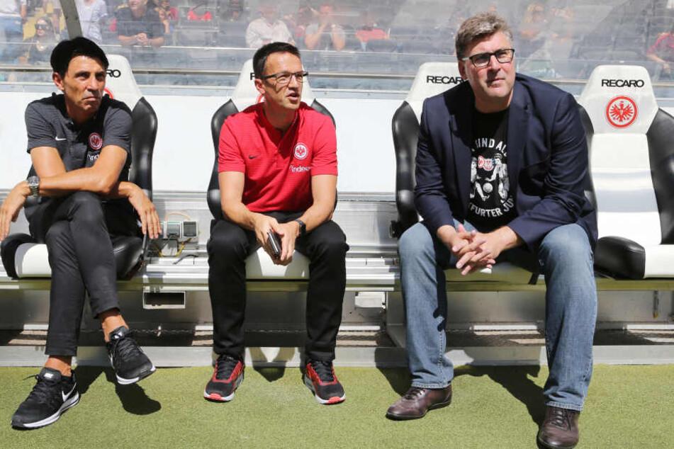 Erfolgreiches Trio: Bruno Hübner, Fredi Bobic und Axel Hellmann (v.l.n.r.) leisten in Frankfurt ausgezeichnete Arbeit.