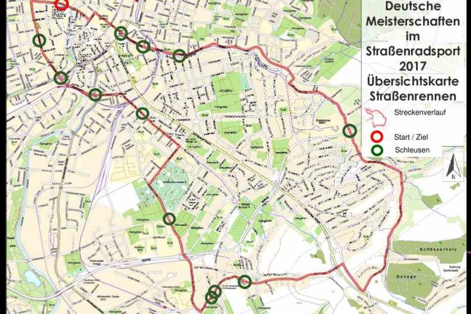 Auf der Übersichtskarte zum Straßenrennen sind auch die Schleusen verzeichnet.