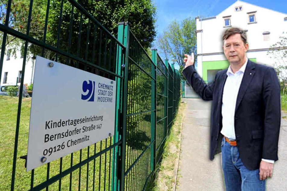 Die Kita an der Bernsdorfer Straße wurde für 3 500 Euro trockengelegt. 14 Kitas stehen bis 2019 auf der Sanierungsliste der Stadt. Stadtrat Andreas Schmalfuß (50, parteilos) kritisiert die schleppenden Kita-Sanierungen.