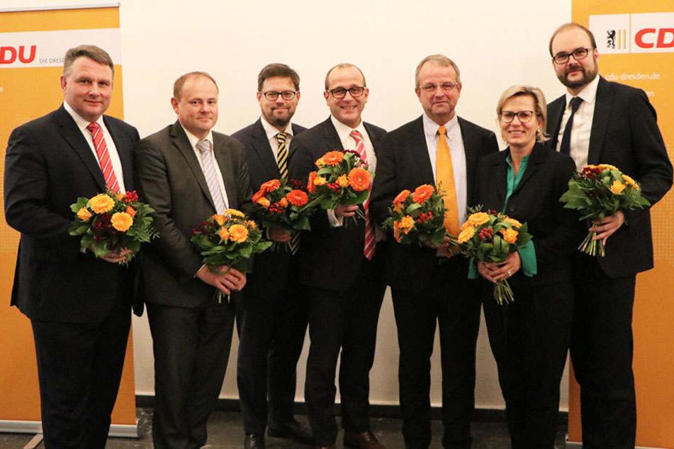 Wollen für die CDU aus Dresden in den Landtag: Christian Hartmann, Gunter Thiele, Lars Rohwer, Martin Modschiedler, Ingo Flemming, Barbara Klepsch und Christian Piwarz (v.l.).