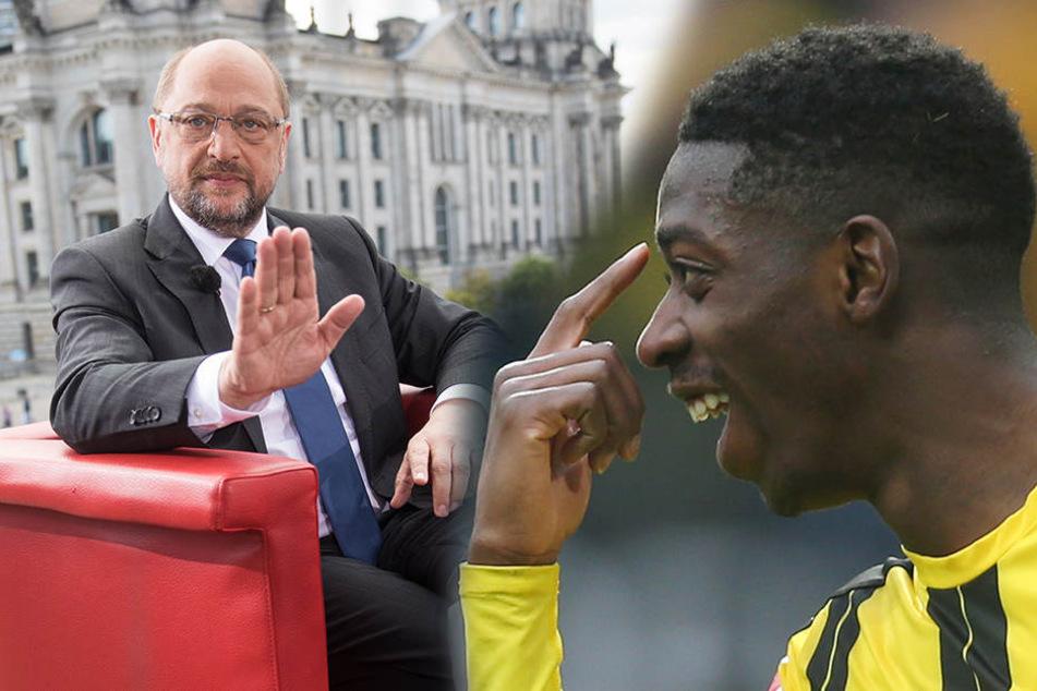 Martin Schulz würde gern den Millionen-Wahnsinn im Fußball stoppen. Der Ex-Dortmunder Ousmane Dembélé fände das sicher nicht toll.