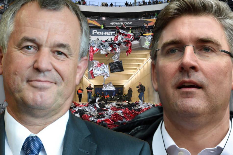 Fotomontage: Frankfurts Polizeipräsident Gerhard Bereswill (Li.) und Eintracht-Vorstand Axel Hellmann sprachen am Freitag über die Vorfälle vor dem Europa League-Match gegen Schachtar Donezk.
