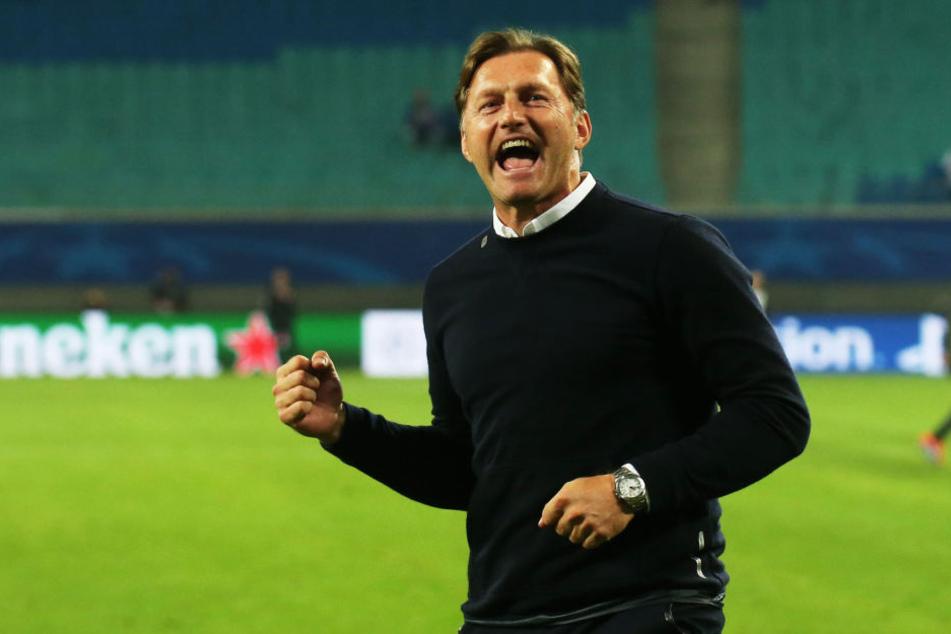 Trainer Ralph Hasenhüttl konnte sich über den ersten Sieg von RB Leipzig in der Champions League freuen.