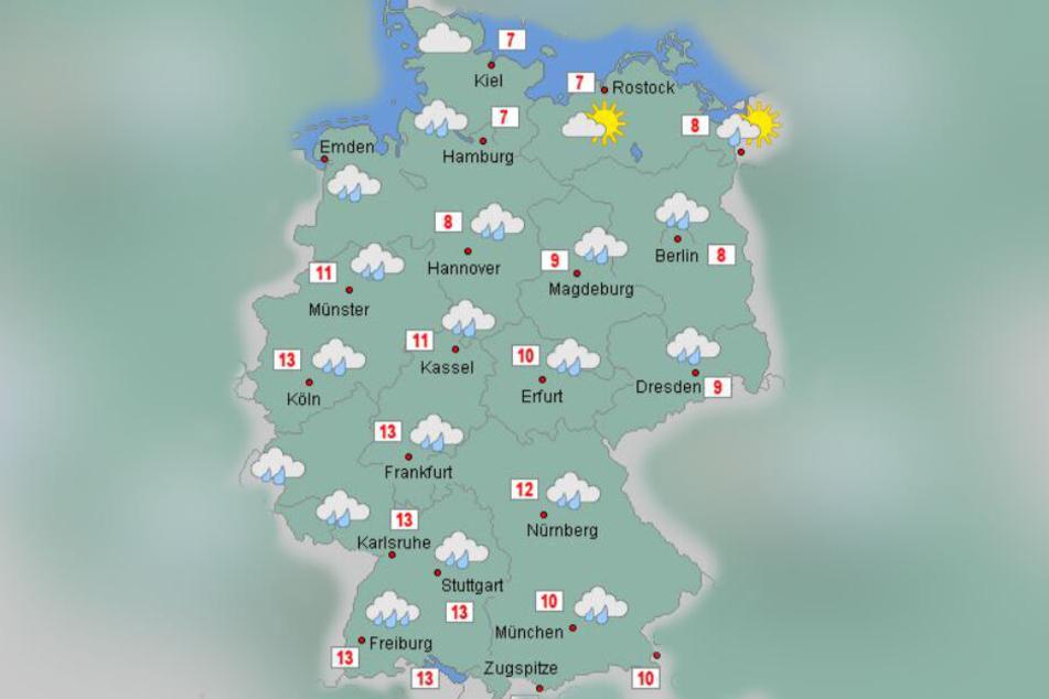 Das Wetter am Sonntag ist der Vorbote für den Wochenanfang. Nass und stürmisch wird es.