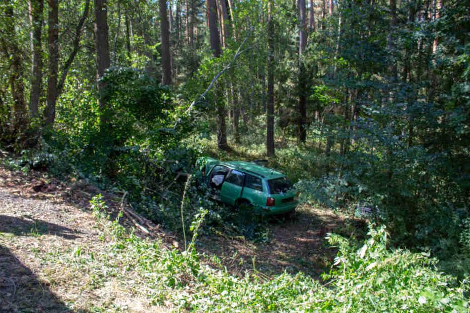 Etwa vier Meter stürzte der Audi eine Böschung hinab.